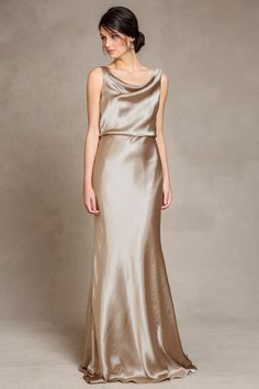 Bridesmaid Dress | Madelyn Liquid Charmeuse Dress by Jenny Yoo in Brushed Gold