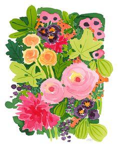 Limited Edition Flora Giclée by Caitlin McGauley Illustration Art Nouveau, Botanical Illustration, Art Watercolor, Watercolor Flowers, Flower Studio, Flower Art, Art Floral, Art Design, Art For Kids