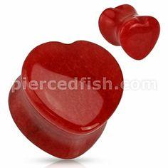 Pierced Fish Category > Body Jewelry > Plugs / Tunnels > Organic Stone Plug > PST6-04::Heart Shaped Red Jade Natural Stone Saddle Plug