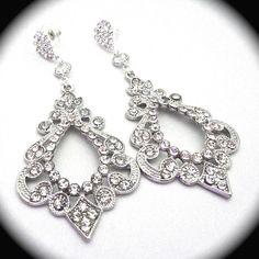 Rhinestone Earrings // Large //  Bridal jewelry // Statement earrings // Beautifully detailed //  EXOTIC // Victorian // Brides earrings //