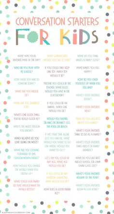 Looking for fun, thoughtful conversation starters for kids? Learn more about your family through these 31 question prompts and simple topics, perfect for mealtime dinners and practicing social skills. Conversation Starters For Kids, Conversation Starter Questions, Conversation Topics, Preschool Activities, Family Activities, Indoor Activities, Activities For 4 Year Olds, Play Therapy Activities, Summer School Activities