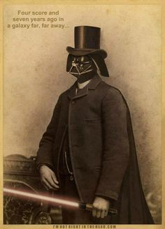 Vintage photograph of Darth Vader practicing his infamous Gettysburg Address of the Sith.