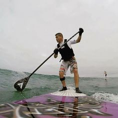 Vynce Pham sup surfing in Solana Beach. #paddleboarding #aztekpaddles #supracer #supconnect #WhatSUP #Paddle #Ocean #CA