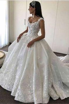 2017 vestidos de boda de bola del vestido de organza con apliques Corte 3D del tren cremallera de la espalda