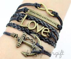 Infinity & glamour infinite love cool anchor bracelet charm black strap black leather woven fashion bracelet charm bracelet-Q156 by luckystargift, $6.99