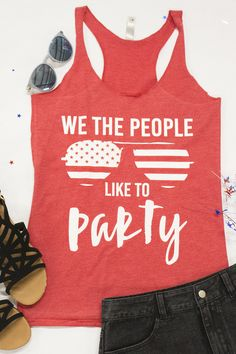 7c268a7949c5 We The People Like To Party Graphic Tank. America OutfitNew ...