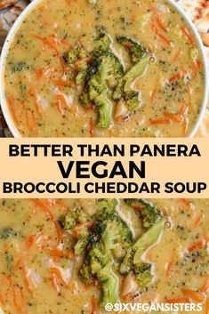 BETTER THAN PANERA vegan broccoli cheddar soup. The absolute BEST recipe! Check it out on our blog. Vegan Dinner Recipes, Soup Recipes, Whole Food Recipes, Vegetarian Recipes, Cooking Recipes, Healthy Recipes, Good Vegan Recipes, Vegan Recepies, Best Vegan Recipes