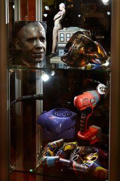 Eloise Hawser - Vitrine Photographed With Stock 3D Printed Objects, TcT Fair Birmingham 2015, Photograph