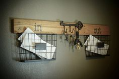 Handmade Rustic Industrial Mail and Key Wall Organizer. Repurposed from reclaimed pallet wood, sanded, sealed and detailed by myself. Hand painted in & out in a black chalkboard style writing, black paint with white highlights, to add the distressed rustic industrial feel. Each one