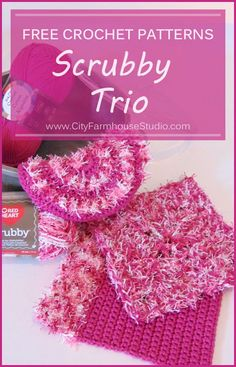 Free crochet patterns for a trio of scrubbies.  Dual Duty Scrubber, Summer Spiral Scrubby, and Waffle Scrubby.  All by www.cityfarmhousestudio.com  #freecrochetpattern #freecrochet #crochet