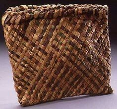 Ojibwe birchbark basket (Makuk) with porcupine quillwork dyed red ...