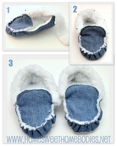 diy, slippers, moccasins, sewing, denim