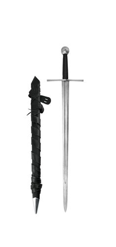 Damascus-steel-templar-sword-with-scabbard