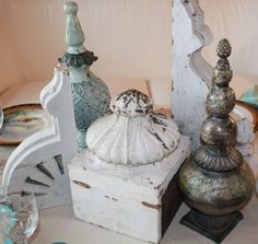 gorgeous grouping of finials  and corbels