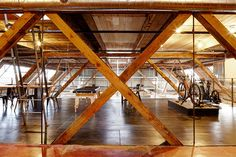 Views through the existing heavy timber construction