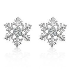Genuine Rhodium Plated Snowflake Inspired Stud Earrings with Round Cut Clear Cubic Zirconia Accents Polished into a Lustrous Silvertone Finish