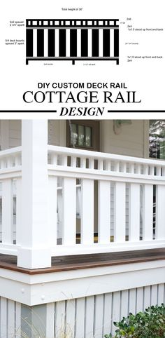 Enjoy our free DIY Coastal Cottage or Farmhouse Style porch and deck rail... #woodworking #diy #cottage #porchrail #deckrail #bloggers #bloggerlife #farmhouse #cottagediy #farmhousediy #coastalcottage #coastalfarmhouse#diy #howto #diyproject #diybzz #homedecorideas #homeprojects
