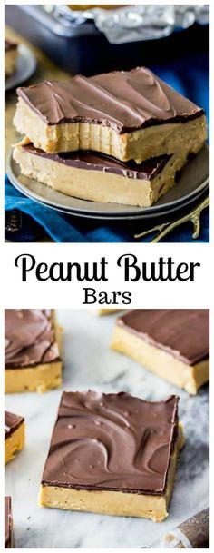 Peanut Butter Bars via @sugarspunrun