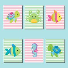 Sea Animals WALL ART, Kids Bathroom Decor, Sea Life Nursery Fish Turtle Seahorse…