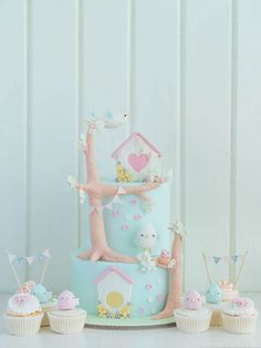 Cake set  for a Shabby Chic Bird Party by Cottontail Cake Studio