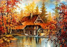 Watermill - foliage, river, creek, lovely, lake, falling, cabin, nice, fall, leaves, beautiful, water, trees, house, peaceful, colorful, cottage, pretty, reflection, stream, mill, nature, pond, watermill, colors, sky