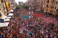 Castells a la plaça de l'ajuntament de Tarragona.