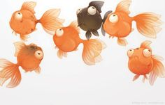 cutest fish illustrations and a cute idea for a mural in a kids room