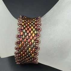 Peyote Bracelet,Bronze Gold Green Beaded,BeadWork Bead-Weaving,Colorful Beads Arm Candy,Woven Cuff Bracelet,Handmade Jewelry Bead work