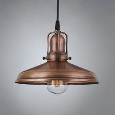 """This antique pendant light fixture is made from real copper, then given a vintage finish to deliver a """"weathered"""" copper look. Equally suited to restaurants or kitchen islands, it adds warm, old-fashioned charm to any room. The Woodhill antique pendant Copper Pendant Lights, Vintage Pendant Lighting, Glass Pendant Light, Antique Lighting, Pendant Light Fixtures, Kitchen Chandelier, Kitchen Lighting, Antique Light Fixtures, Copper Kitchen"""