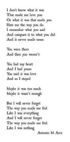 But I will never forget