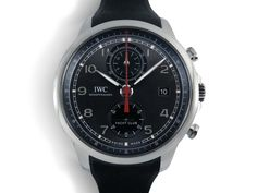 IWC Portugieser Yacht Club Chronograph 43.5MM Watch, Fashioned in Stainless Steel, Featuring a Slate Dial, Black Rubber Strap and Automatic Movement