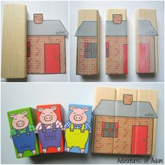 Making three little pigs brick house Traditional Tales, Traditional Stories, Block Area, Block Center, Three Little Pigs Story, Pig Crafts, Barnyard Party, Farm Theme, Classroom Displays