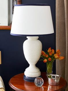 Rope Crafts for a Lamp - Home Decorating Crafts - WomansDay.com #crafts