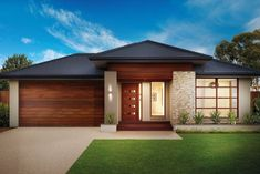 Like the garage door colour and entry with path across front. Also like the stone work column and garden near bed window. Modern Bungalow House, Modern House Plans, Modern House Design, House Paint Exterior, Exterior Design, Pavillion, Front Yard Design, Facade House, House Facades