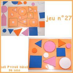 Dernière série d'ateliers autonomes : Jeu n°26 : encastrement la fleur des formes  Jeu n°27 : ronds, carrés, triangles Pour ce...