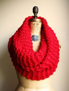Super Snuggly chunky knit cowl, Lipstick Red