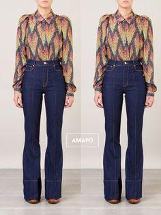 Jeans Pants, Denim Jeans, Mom Jeans, Blue Jeans, Blue Denim, Office Looks, Blazers, Flare Pants, Look Fashion