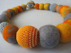 artistudios art: Yellow-grey felted & crocheted necklace