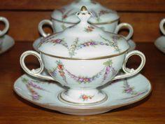 Antique Dresden Bouillon Cups, Saucers & Lids (set of 10)
