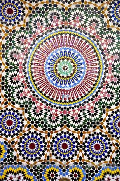 Stock Photo titled: Zillij Moroccan Ceramic Mosaic Tile Decoration, unlicensed use prohibited