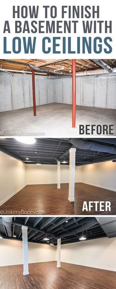"Our basement has super low ceilings (6'-8"" in some parts!) so we had to come up with a solution to make it look nice without a finished ceiling. We also had 8 metal poles to work around! Come see how we finished our basement into a beautiful new functional space for our family. #hometheaterdiycheap"