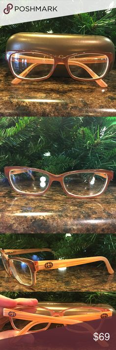 Authentic Gucci Eyeglasses Excellent Condition! These DO have a prescription in them. They are a very pretty peach color. Gucci Accessories Sunglasses