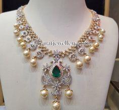 Jewellery Designs: White Gold Unique Floral Diamond Set