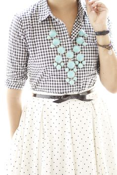 Mix 'n' Match.  gingham, belted polka dot skirt and bauble necklace.