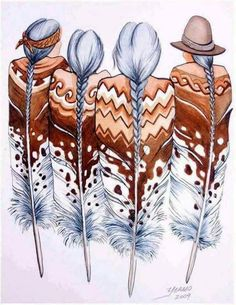 Super Ideas for wall painting ideas indian art Native American Paintings, Native American Pictures, Native American Indians, Native American Drawing, Native Americans, Indian Pictures, Native American Crafts, Feather Painting, Feather Art