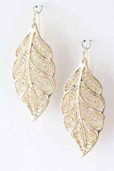 Golden Apen Earrings - delicate crochet weaved Leaves are stylishly dreamy.