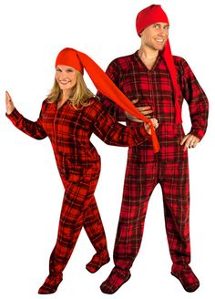 Big Feet Adult Footie Pajamas 101 Red & Black Tartan Plaid Footed ...