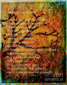 Prayer to St Francis on a cherry blossom background by Barbara Griffin