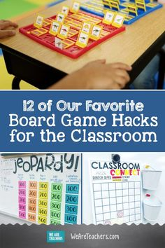 12 of Our Favorite Board Game Hacks for the Classroom. Practice curriculum and have fun at the same time when you try out these board game hacks in your classoom. Students will love transforming familiar games. - Kids education and learning acts Board Game Themes, Math Board Games, Board Games For Kids, Classroom Games High School, School Games, Classroom Board, Classroom Tools, Classroom Ideas, Educational Board Games