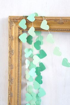 String up this Sweetheart Paper Garland for a delicate pop of color in 3 shades of mint. $15 from redelephantcreative